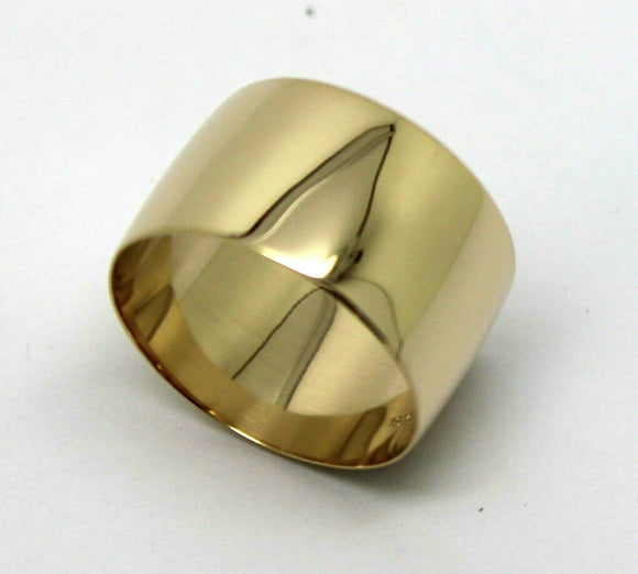 Size P Genuine 12mm wide 9ct 9k Yellow, Rose or White Gold Full Solid Extra Wide Band Ring