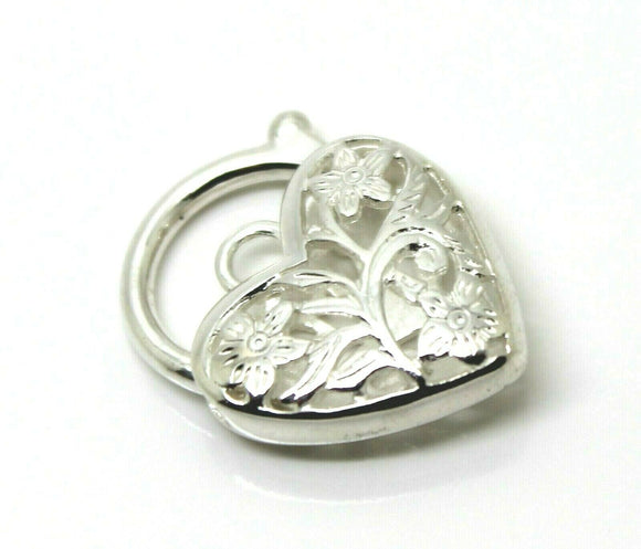 STERLING SILVER FILIGREE HEART PADLOCK PENDANT 15MM *Free express post in oz