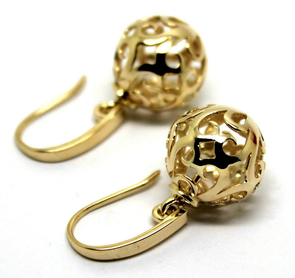 Genuine 9ct Yellow, Rose or White Gold Large Heavy 14mm Thick Hooks Ball Drop Filigree Earrings