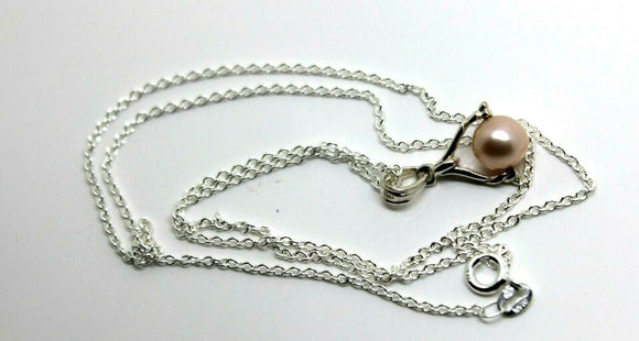Sterling Silver Chain Necklace &  Pearl Ball Spinner Pendant