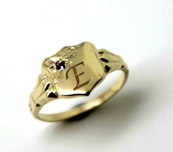 9CT SMALL YELLOW GOLD Amethyst SHIELD SIGNET RING + ENGRAVING OF ONE INITIAL