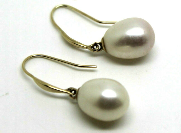 Genuine New 9ct Yellow Gold Oval Pearl Ball Earrings (continental hooks)