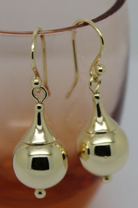 NEW GENUINE 9CT YELLOW OR WHITE OR ROSE GOLD 12MM EURO BALL DROP EARRINGS