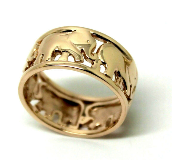 Kaedesigns, Solid 9ct 9k Yellow Or Rose Or White Gold Wide Solid Gold 375 Elephant Ring