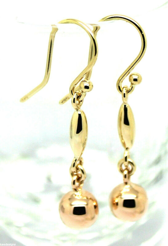 Kaedesigns New Genuine 9ct Yellow & Rose Gold 8mm Ball Long Drop Earrings