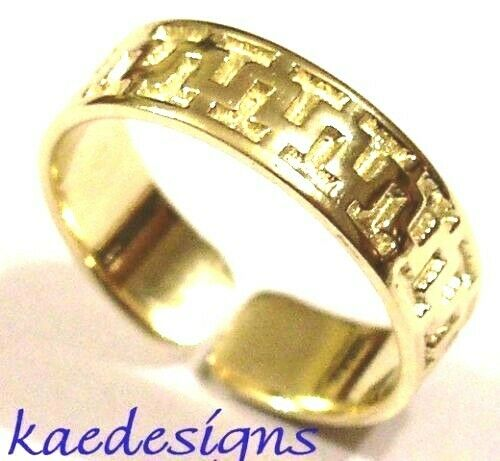 Genuine Solid 9ct Yellow or Rose or White Gold or Sterling Silver Patterned Toe Ring