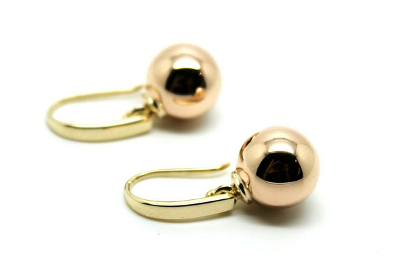 Kaedesigns Genuine New 9ct 9kt Yellow & Rose Gold 12mm Hook Drop Ball Earrings
