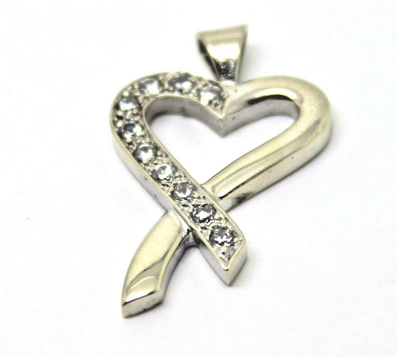 NEW 9CT GENUINE WHITE GOLD CUBIC ZIRCONIA HEART PENDANT *FREE EXPRESS POST IN OZ