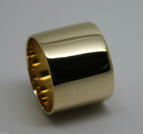 SIZE R GENUINE HEAVY NEW 9KT YELLOW, ROSE OR WHITE GOLD FULL SOLID 16mm EXTRA WIDE BAND RING