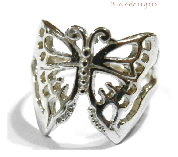 Kaedesigns, Genuine Sterling Silver 925 Solid Large Butterfly Ring 236