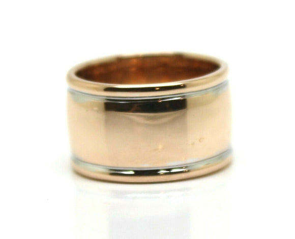 SIZE N 9CT 9KT FULL SOLID ROSE GOLD & WHITE GOLD RIDGED DOME RING 12mm wide