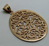Heavy Solid 9ct Yellow, Rose or White Gold Large Oval Filigree Pendant
