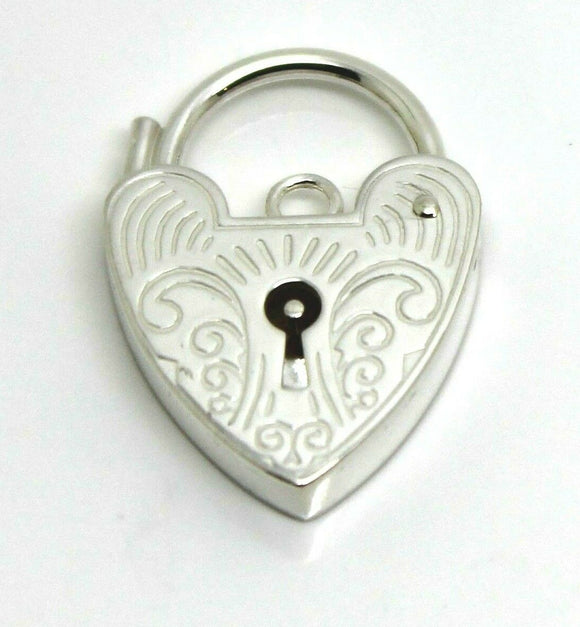 15mm Sterling Silver Engraved Heart Padlock Locket * Free Express Post In Oz