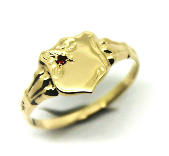 Size K 9ct Small Yellow, Rose or White Gold Garnet (Birthstone For January) Shield Signet Ring