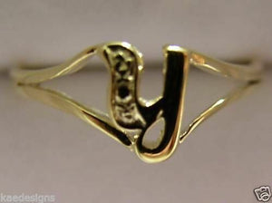 KAEDESIGNS, GENUINE, SOLID YELLOW OR ROSE OR WHITE GOLD 375 INITIAL RING Y