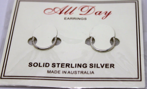 NEW Sterling Silver Sleepers Hinged Earrings Plain 8mm*FREE POST IN OZ