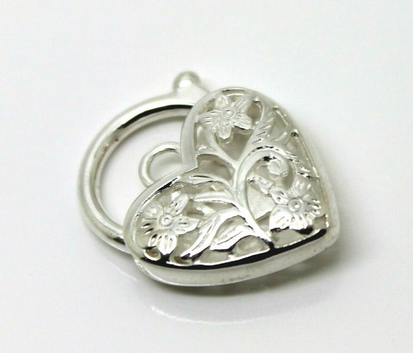 Large Sterling Silver Filigree Heart Padlock Pendant 18mm - Free express post