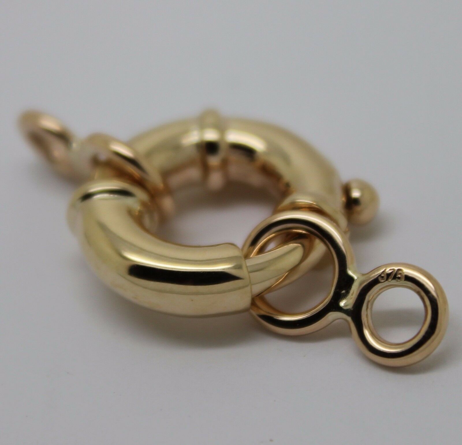9ct Yellow Gold 6mm Diameter Bolt Ring Jewellery Clasp with Open Jump Ring