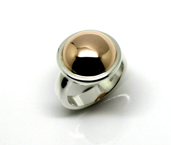 Genuine Large Sterling Silver 925 & 9ct Rose Gold 375 Half Ball Button Ring