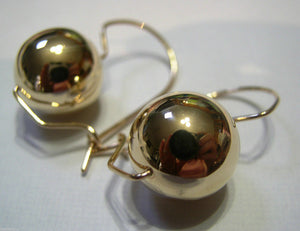 Kaedesigns, 9ct Yellow Or White Or Rose Gold 375 16mm Full Ball Hook Earrings