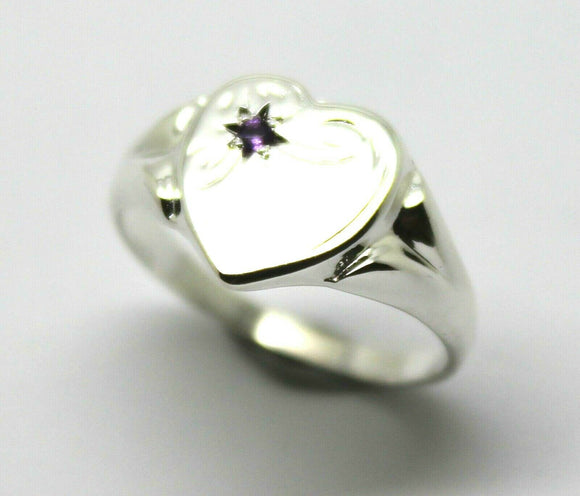 Large New Genuine Sterling Silver 925 Heart Signet Ring Choose Your Size & Gemstone