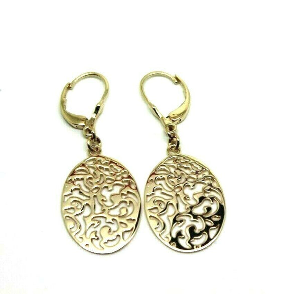 Continental Hooks 9ct Solid Yellow, Rose or White Gold Antique Oval Filigree Drop Earrings