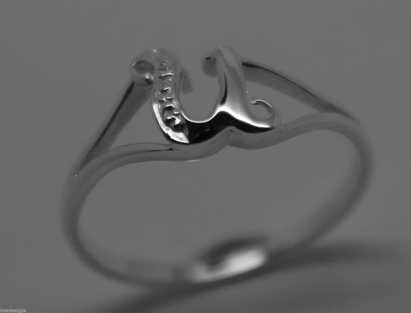 KAEDESIGNS, GENUINE, SOLID YELLOW OR ROSE OR WHITE GOLD 375 INITIAL RING U