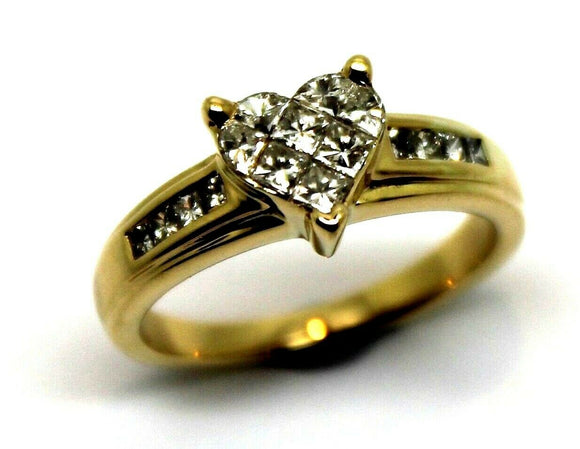 18ct Yellow Gold Diamond 0.50 Tdw Engagement Heart Ring *Free Express Post In Oz