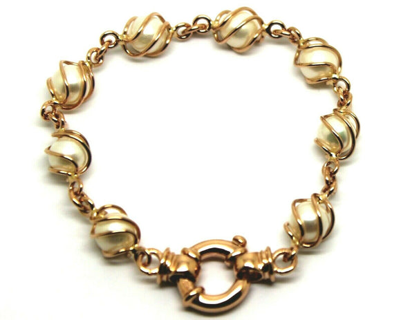Genuine Handmade 9ct Rose Gold Freshwater White Pearl 19cm Bracelet