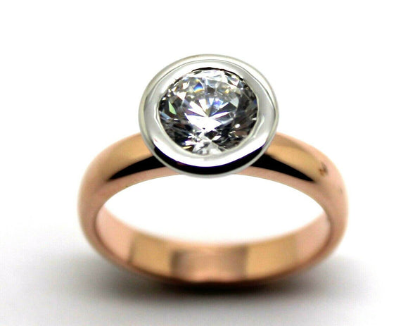Kaedesigns, New Genuine 14ct Solid White & Rose Gold CZ Engagement Ring 373