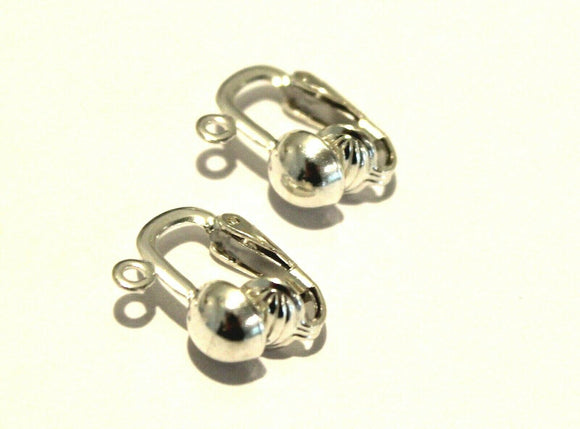 STERLING SILVER 6MM HALF BALL CLIP CONTINENTAL CLIP HOOKS *FREE EXPRESS POST