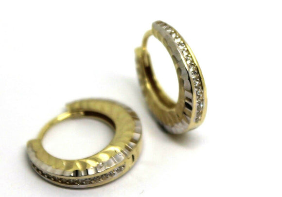 KAEDESIGNS,GENUINE New 9ct YELLOW GOLD HOOP CZ EARRINGS*FREE EXPRESS POST IN OZ