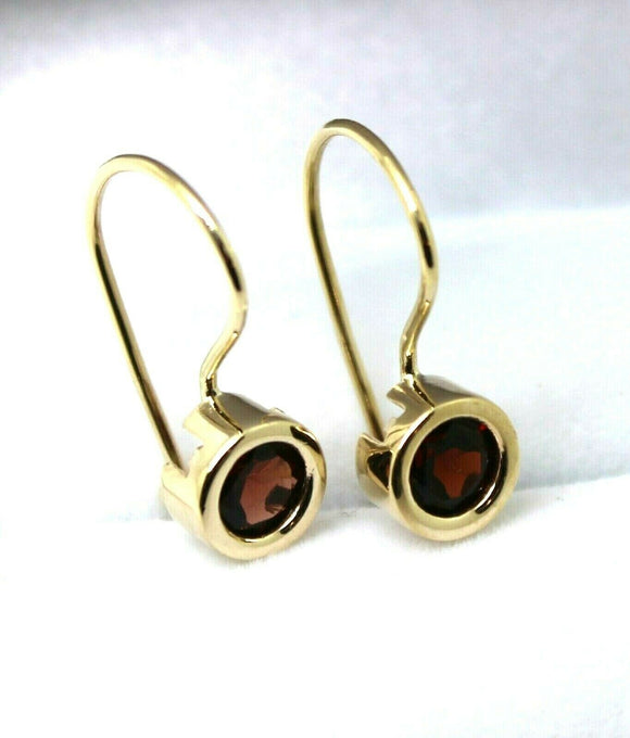 9ct Yellow Gold Red Stone Solitaire Earrings *Free Express Post In Oz