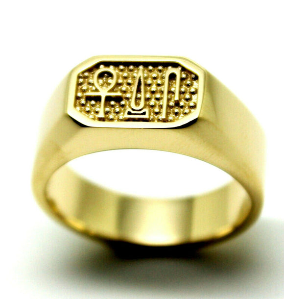 10ct Gold Signet Ring Egyptian Hieroglyphic symbols-Success,Happiness & Health