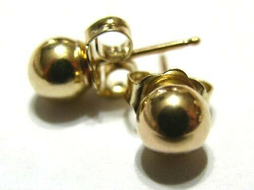 Kaedesigns,Genuine 18ct Yellow Gold 3mm, 4mm, 5mm, 6mm Or 8mm Stud Ball Earrings