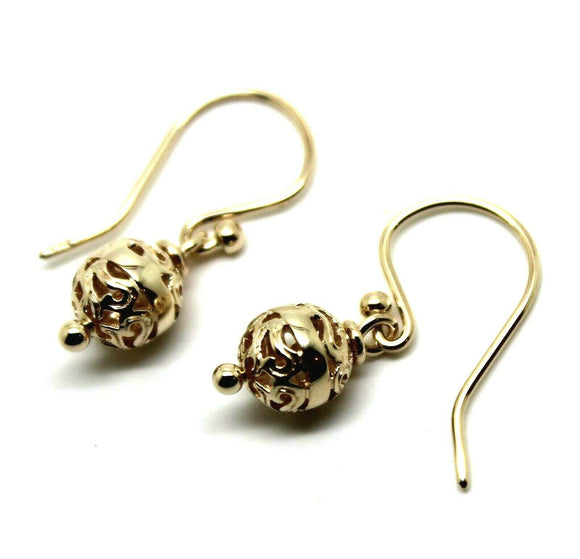 Genuine New Heavy 9ct Yellow, Rose Or White Gold 8mm Euro Ball Drop Filigree Earrings