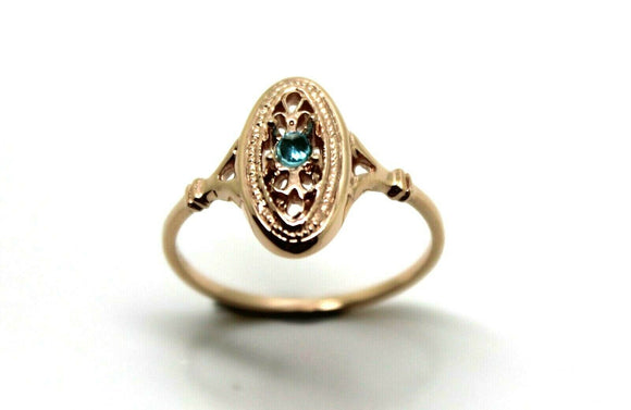 9CT ROSE GOLD DELICATE BLUE TOPAZ  FILIGREE RING