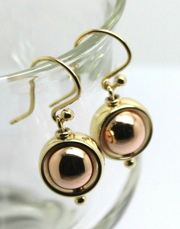 Large 9ct Rose & Yellow Gold Spinning Belcher Ball Earrings *Free Express Post In Oz