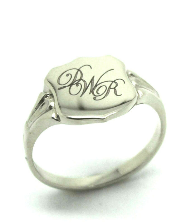 Sterling Silver Large Signet Ring Size 7 Plus Engraving Of Three Initials