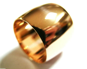 GENUINE HUGE GENUINE 9K 9CT 375 ROSE GOLD, FULL SOLID 16MM EXTRA WIDE BAND RING