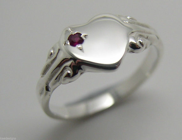 New Genuine Sterling Silver 925 Heart Signet Ring Choose Your Size And Gemstone
