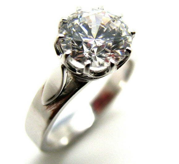 18ct Solid White Gold 1.2Ct Cz Round Cut Engagement Ring*Free Express Post In Oz