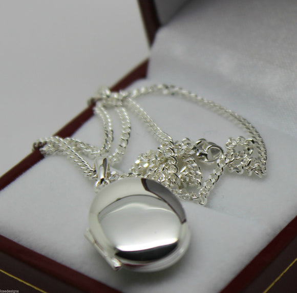 STERLING SILVER OVAL LOCKET PENDANT 2 PHOTO'S & 55CM SILVER CHAIN *FREE EXPRESS