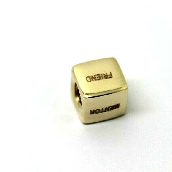 GENUINE 9ct Yellow or Rose or White Gold engraved with your msg BOX BEAD 6grams