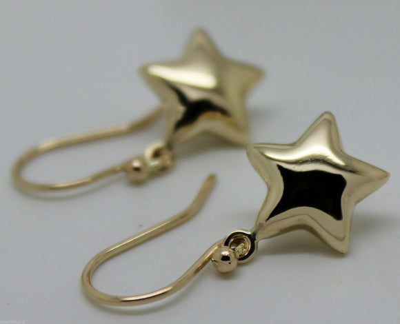 KAEDESIGNS, 9ct Yellow OR White OR Rose Gold BUBBLE DROP STAR HOOK EARRINGS