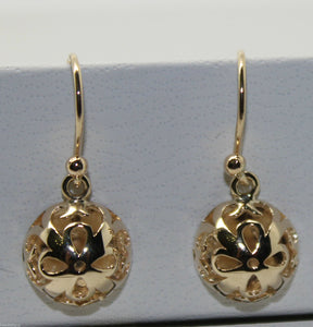 New 9ct Yellow or White or Rose Gold 12mm Half Ball Filigree Flower Earrings