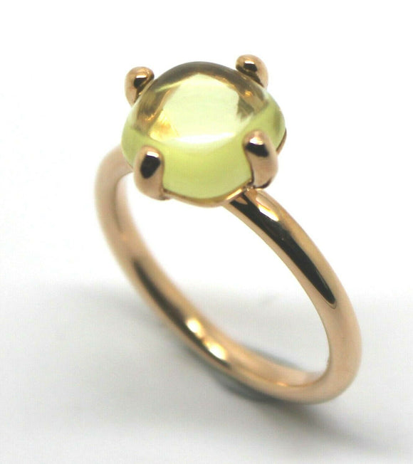 Genuine 9ct Rose Gold Cabochon Lemon Quartz Stackable Stacker Ring