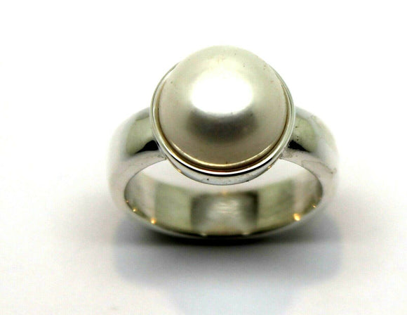 Size S Solid Sterling Silver & Freshwater Pearl Half Ball Ring *Free Express Post