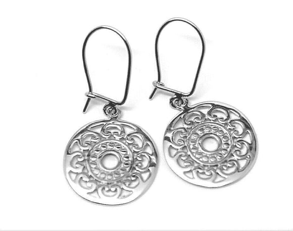 Genuine Sterling Silver Flat Filigree Drop Round Closed Hooks Earrings