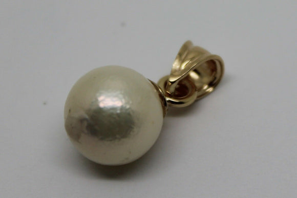 KAEDESIGNS NEW  9CT SOLID YELLOW GOLD 11mm WHITE  PEARL BALL PENDANT